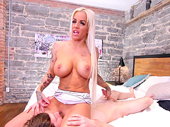 Busty blonde pornstar Pamela French moans during passionate fucking