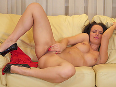 Perfect boobs solo babe Lia opens her legs to pleasure her pussy