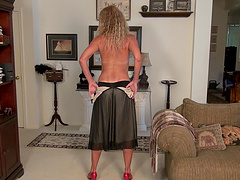 Sweet wife Zoe Marks drops her black panties and masturbates