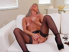 Small boobs granny Leilani Lei in stockings loves masturbating