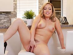 Home alone wife Carmen Valentina opens her legs to masturbate