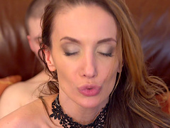 Sensual fucking with stunning Marel Dew in stockings and garter belt