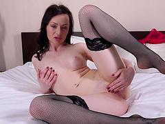 Pale amateur Eva Green drops her red panties to masturbate