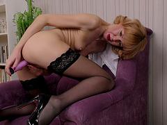 Horny blonde chick Squirrel spreads her legs to masturbate