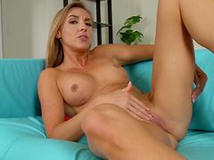 Closeup video of horny Kate Linn pleasuring her wet pussy
