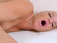 Busty blonde pornstar London River moans during passionate fucking