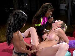 Naughty lesbian babes enjoy having sex with strapons - Mini Stallion