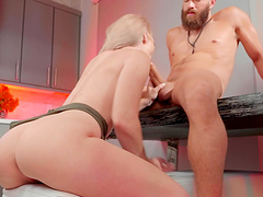 Balls deep ass drilling with sexy Kay Carter in the kitchen