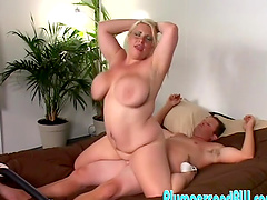 Chubby blonde girl Jen D. spreads her legs to be fucked hard