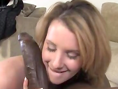 Naughty Blonde Plays with a Huge Black Cock