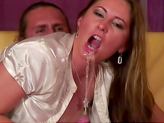 Sexy Brunette Spreads 'Em Wide and Gets Fucked Hard