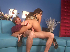 Naughty Brunette Has A Great Time With A Big White Cock