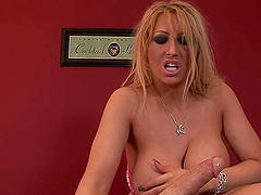 Impressive Handjob by Big Breasted Blonde Amateur MILF
