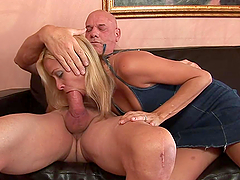 Deepthroat by Blonde MILF Before Cowgirl Cock Ride on the Couch