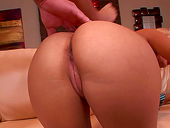 Big Ass Blonde Babe Blowjobs and Fucks in the Kitchen with Tie