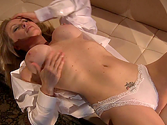 Busty Blonde Plays With Her Nipples As She Fingers Herself