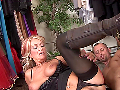 Mature Blonde Is Fucked By A Horny Costumer