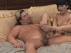 Blowing And Footjob Action With A Hot Brunette