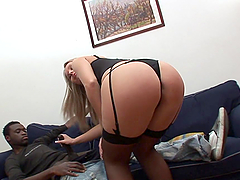 Smoking Hot Blonde Rides A Black Cock In Sexy Lingerie