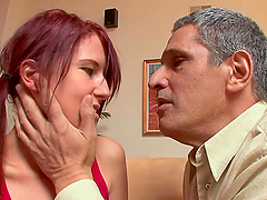 An Old Man's Big COck For A Horny Redhead Teen's Pink Pussy