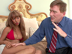 Ebony Teen Helps Her Step-dad Out With His No Action Problem