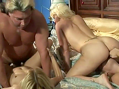 Lucky Bastard Has A Foursome With Blonde Hotties