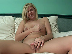 Sexy Blonde Teen Fingers Her Pink Pussy