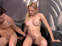 Anus Pounding With A Horny Blonde Shemale
