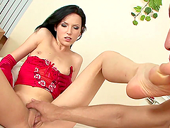 Sexy Brunette's Fucked After Giving A Footjob