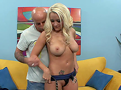 Busty Blonde Titty Fucks A Guy Before Riding Him
