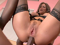 Kinky Milf Rides A Black Cock With Lingerie On