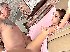 Danni Cole Sucks and Rides an Old Man's Cock