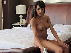 Gorgeous Tanned Brunette Teen Chloe Amour Pleasing a Lucky Dick
