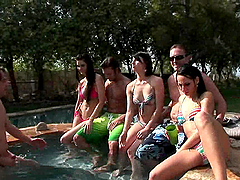 Great Outdoor Orgy in the Pool with Horny Brunette Sluts