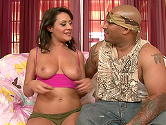 Big Black Cock Interracial Banging for Charley Chase's Hairy Pussy