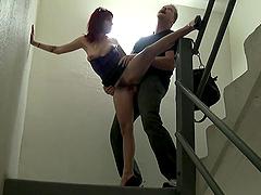Sasha Sweet Sucks A Big Cock On A Flight Of Public Stairs