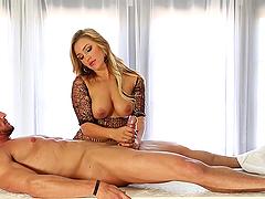 Facial Cumshot after Cock Massage by Blonde MILF Cameron Dees