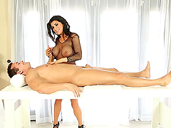 Amazing Cock Milking with Handjob and Blowjob by Busty Romi Rain