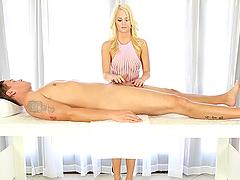 Unbelievable Handjob and Blowjob by Blonde Bombshell Emily Austin