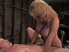 Bondage Games With A Kinky Blonde Shemale