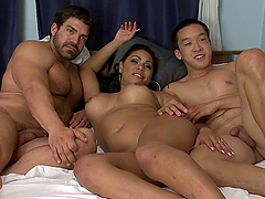 Big Guy and His Friend Having Sex with a Horny Shemale