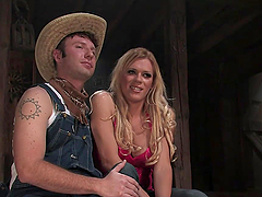 Manly Cowboy Gets Fucked in the Ass after BJ by Blond Tranny