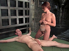 Rough Sex With A Very Dominant Redhead In A Bondage Clip