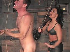 Slutty Brunette Tortures A Guy Before Riding Him