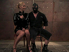 Poor Guy Is Tortured By A Sexy Blonde In A Latex Dress