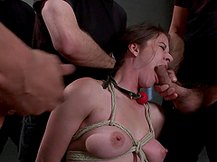 Wild Crazy Fucking in BDSM Gangbang for a Tied Up Chick