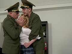 Russian School Girl Double Penetrated in Gangbang by Soldiers