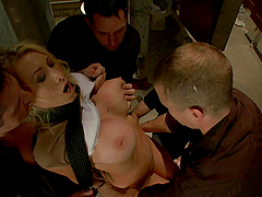 Rough BDSM Gangbang with Anal and DP for  Blonde Busty Girl