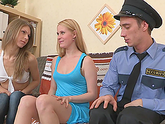 Naughty Blondes Blow An Officer Until He Cums On Their Faces