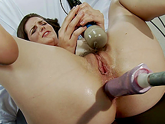 Fucking Machine Fucks a Girl's Ass and Hairy Wet Pussy